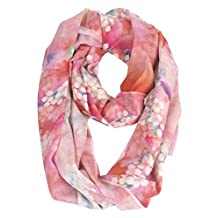 Ws Natural Scarf / Shawl 100% 80s Lightweight Large Fine Wool Super Soft Women's Fashion Floral with Gift Box (Pink Floral)