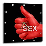 3dRose RinaPiro - Sex Quotes - Sex. Red and black. - 13x13 Wall Clock (dpp_266084_2)