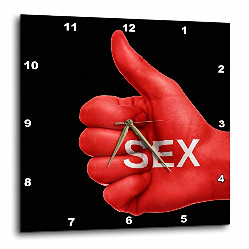 3dRose RinaPiro - Sex Quotes - Sex. Red and black. - 13x13 Wall Clock (dpp_266084_2) by 3dRose