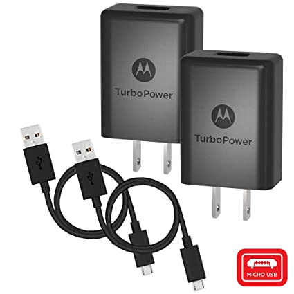 [2 Pk] Motorola TurboPower 15+ QC3.0 Chargers w/ 6.6ft