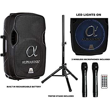 Image of Alphasonik 15' Portable Rechargeable Battery Powered 1500W PRO DJ Amplified Loud Speaker with 2 Wireless Microphones Echo Bluetooth USB SD Card AUX MP3 FM Radio PA System LED Ring Karaoke Tripod Stand