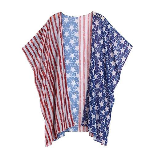 Lache Imprim Kimono Plage Cardigan Bringbring Drapeau AmRicain Marine Blouse ChaLe Femme Veste Cover de xUXTpBqB