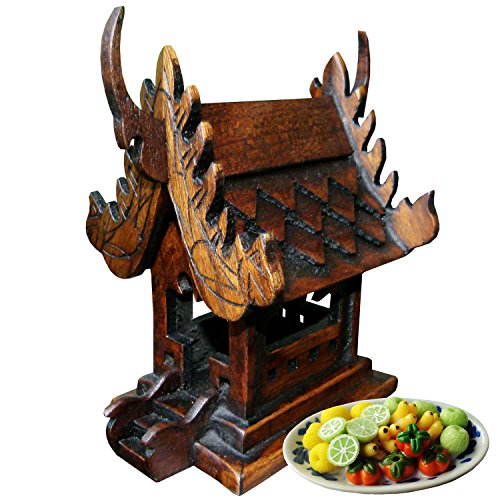 - Thai Buddhist Spirit House Buddha Altar Temple Haunted House Teak Craft Size 6 Inches Height
