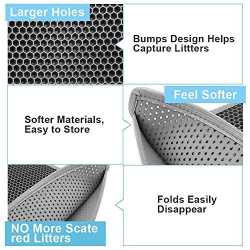 """Bull-o Cat Litter Mat Litter Trapper Size 24"""" X 15"""", Honeycomb Double-Layer Design Waterproof Urine Proof Material, 2-Layer Sifting Easy Clean Scatter Control"""