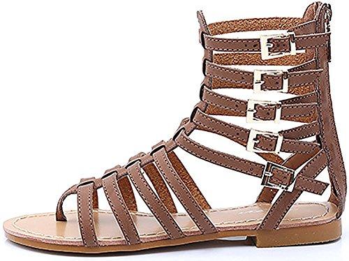 D2c Beauté Femmes Chaussures Gladiateur Strappy Dos Glissière Sandales Plates Marron
