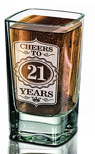 Single Personalized 21st Shot Glass Cheers to 21 Years Glass Custom Engraved Birthday College Party Gift Anniversary for 30th 40th 50th 60th 70th 80th Celebration Gift ()