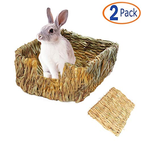 (Tfwadmx Rabbit Grass Bed, Natural Straw Woven Grass Bunny Bed Nest Hay Mat for Hamster Gerbil Chinchillas Guinea Pig Chipmunk Squirrel Hedgehog Mice Other Small Animals)
