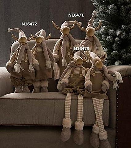 muñecas PAR de renos navideñas Macho y Hembra en posición sentada, vestidas con magliettina A