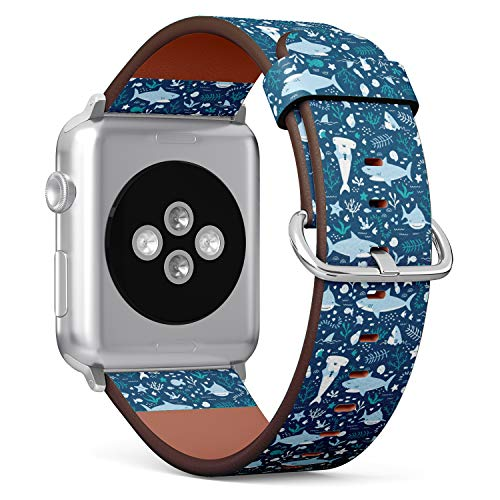 (Underwater Pattern with Cute Sharks) Patterned Leather Wristband Strap for Apple Watch Series 4/3/2/1 gen,Replacement for iWatch 42mm / 44mm Bands