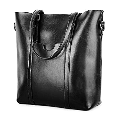 YALUXE Women's Vintage Style Soft Leather Work Tote High Style Shoulder Bag for Women black