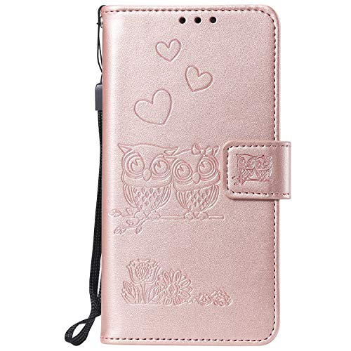 Miagon for Samsung Galaxy Note 10 Case,Embossed Owl Flower Heart Pattern PU Leather Wallet Stand Flip Cover with Card Slots Magnetic Closure