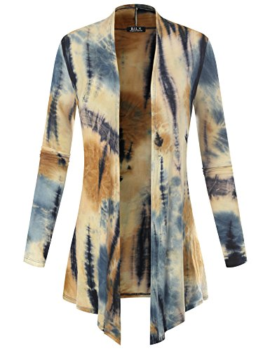 - BH B.I.L.Y USA Women's Open Front Drape Hem Lightweight Cardigan Tie-Dye Taupe Small