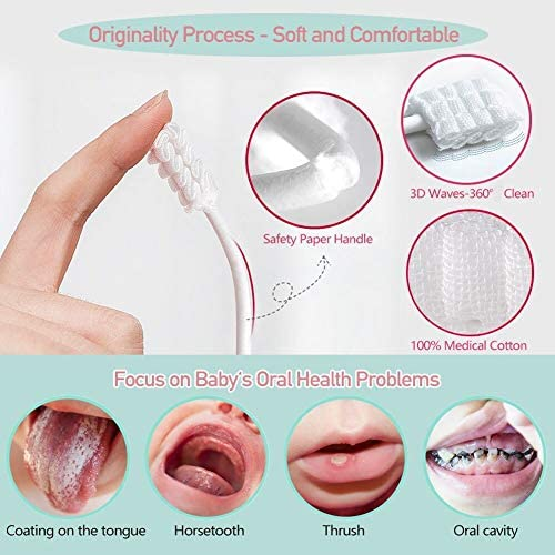 51hJOrPsyVL. AC - Baby Toothbrush, Infant Toothbrush Clean Baby Gums Disposable Tongue Cleaner Gauze Toothbrush Infant Oral Cleaning Stick Dental Care For 0-36 Month Baby