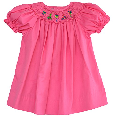 Hand Smocked Bishop Dress (Baby Girl's Hand Smocked Bishop Dress - Pink Birthday Party, 6M)