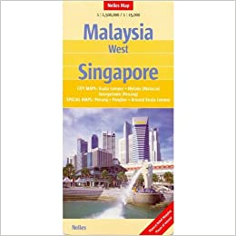 Malaysia West 1:1, 500, 000 & Singapore 1:15, 000 Travel Map with ...