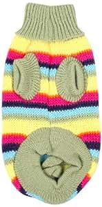 Jardin Clothing Turtleneck Striped Knit Pet Dog Sweater, X-Large, Green