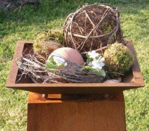 Rost Metal Fuente para Plantar sobre Bolas, Cuadrado Plantable Rost Cuenco Cuadrado para Su Jardín Decoración, Pátina: Amazon.es: Jardín
