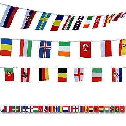 FAHNENKETTE 28 LÄNDER DER EUROPÄISCHEN UNION 8 meter mit 28 flaggen 21x14cm EUR