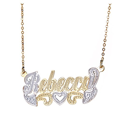 Better Jewelry INC Personalized .925 Sterling Silver Open Heart Classic Nameplate Plated in 14K Gold w. ()