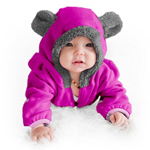 Funzies Baby Bunting Fleece Hooded Romper Bodysuit (BearPurple6-12m)