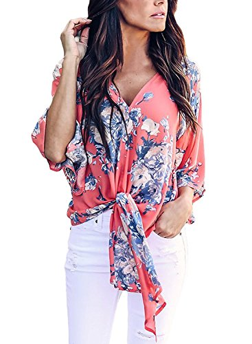 - Freemale Womens Floral Printed Short Sleeve Shirts V Neck Tie Front Tops Chiffon Blouses