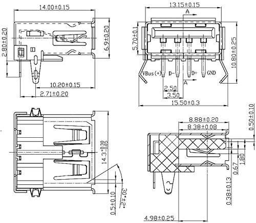 100 Usb Type A Female Pcb Mount Female Jack Male Pin Elektronik