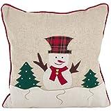 """SARO LIFESTYLE Christmas Applique Design Poly Filled Throw Pillow, 18"""", Snowman"""