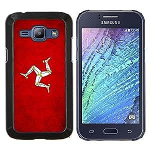 EJOOY---Cubierta de la caja de protección para la piel dura ** Samsung Galaxy J1 J100 ** --Nación Bandera Nacional País Isla de Man