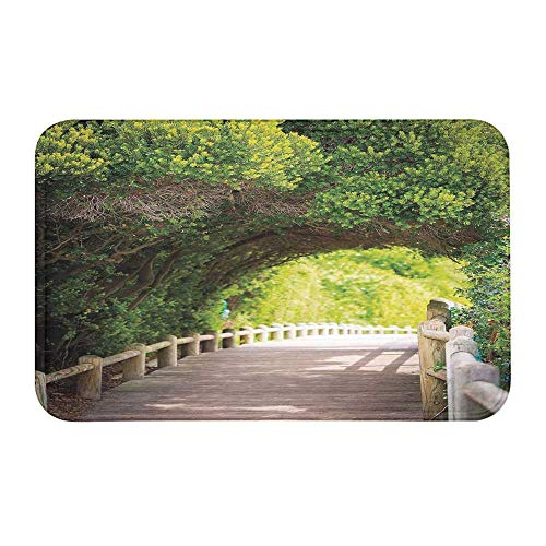TecBillion Forest Comfortable Door Mat,Nature Boardwalk Through Green Archway Bridge Foliage Trees Sunny Summer Day for Home Office,23