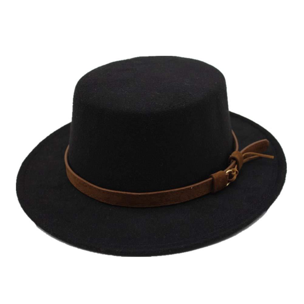 Women Wide Brim Fedora Hat Classic Flat Top Bowler Hat Vintage Trilby Hats