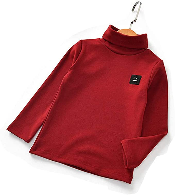 Zerototens Kids Plain T-Shirt,1-5 Years Old Toddler Infant Baby Boys Girls Long Sleeve Turtleneck Sweatshirt Tops Children Basic Tee Casual Warm Outfit Clothes Black