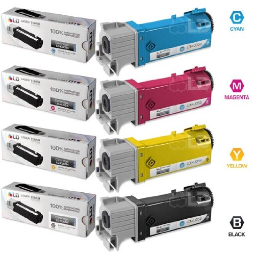 LD Compatible Dell 1320/1320c Set of 4 High Yield Toner Cartridges: 1 Black KU052, Cyan KU053, Magenta KU055, and Yellow KU054
