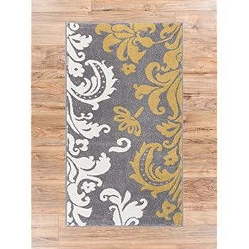 Amazon Com Vavu Damask Grey Gold Ivory Floral Modern