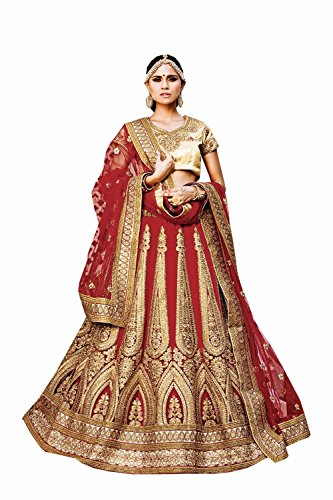 PCC Womens Red Striking Lehenga Choli With Embroidery Lace Work 79985