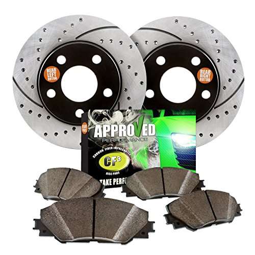 Approved Performance F14552 – [Front Kit] Performance Drilled/Slotted Brake Rotors and Carbon Fiber Pads