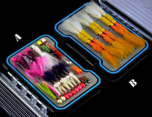 1/16 oz-1/64 oz Crappie Jigs Assorted Colors Lead Head Hook Lures Kit -Natural Feather Jig Heads with Marabou Chenille for Sunfish Bass Pike Walleye Ice Fishing Jigs and Gift-grade waterproof (Marabou Crappie Jig)