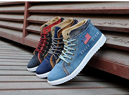 Gaorui Fashion Men Suede Martin Boots Lace up Loafers High Top Sneakers Ankle Shoes Blue tluxf