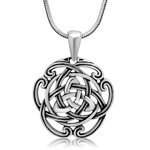 Chuvora 925 Sterling Silver Triquetra Trinity Celtic Knot Open Round Pendant Necklace, 18 inches (Round Knot Pendant)