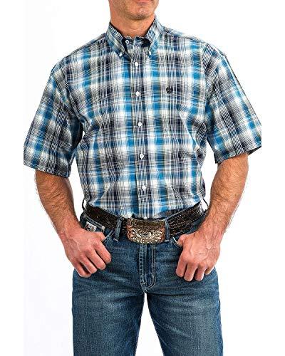 (Cinch Men's Classic Fit Short Sleeve Button One Open Pocket Plaid Shirt, Cort Multi/Blue, L)