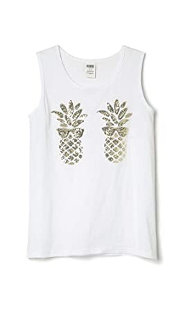 6bb3b8ad9783c Victoria's Secret Pink Bling Campus Tank top, White Gold Sequin ...