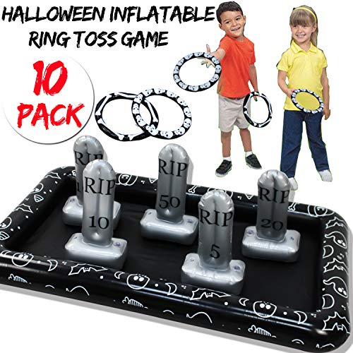 Indoor Halloween Games For Kids (Halloween Party Games for Kids Inflatable Spider Ring Toss Game Halloween Party Favors Games Supplies Outdoor Indoor Toys Creepy Spooky Game for Kids Halloween School Party Carnival (4)
