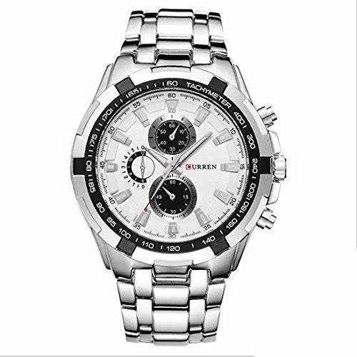 Curren para hombre Horloge zilver-wit acople de 45 mm modelo 2018: Amazon.es: Relojes