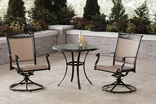 Hanover Fontana 3-Piece Bistro Set with 2 Sling Swivel Rockers and a 32-in. Cast-Top Table, FNTDN3PCSWC Outdoor Furniture, Tan (Aluminum Chairs Sling Swivel Patio)