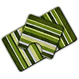 Non Slip Striped 2 Piece Bath Mat & Pedestal Mat Green / Pistachio Multi Stripes by HBS Ltd