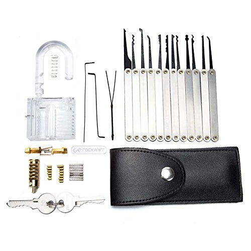 Homder Practice Lock Set Crystal Professional Visible Cuaway Inside View Padlocks with 2 keys,15 pcs Various Picks Crochet Hook, Wrenches, Leather Pouch for Locksmith Training