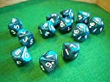 10D10 Dice Set, Pearlized Emerald/White