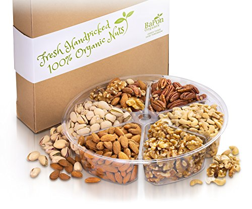 Organic Gourmet Nut Platter with Gift Box - 6 Flavor - Salted, Roasted, and Raw Nuts Variety Pack, Holiday Anniversary Birthday Present, by Bapon (Roasted Pumpkin Seeds Halloween)