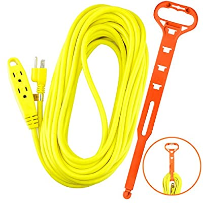 Aurum Cables 50 Feet 3 Outlet Extension Cord 14AWG Indoor/Outdoor Use Yellow With Holder - UL Listed