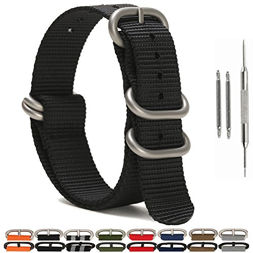 SIMCOLOR 1.5mm Zulu Watch Bands,Military Nylon Replacement Watch Strap with Silver Heavy Duty Buckle 18mm 20mm 22mm or 24mm(20mm,Black)
