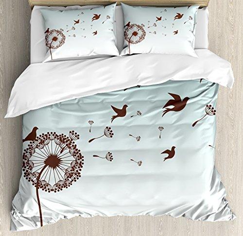 - Ambesonne Art Duvet Cover Set King Size, Dandelion Flower Arrangement Petals Doves Flying Silhouettes Fantasy Blooms Print, Decorative 3 Piece Bedding Set with 2 Pillow Shams, Turquoise Brown